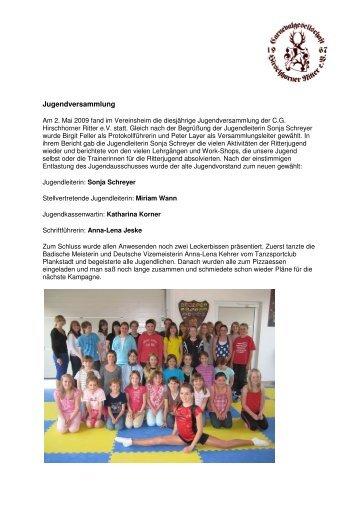 Jugendversammlung - Hirschhorner Ritter
