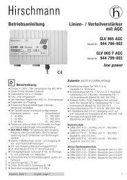 Linien- / Verteilverstärker mit AGC Betriebsanleitung