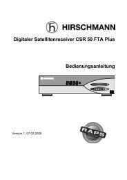 Digitaler Satellitenreceiver CSR 50 FTA Plus Bedienungsanleitung