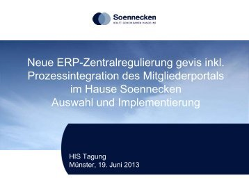 (Soennecken eG) & Maik Niggemann (GWS ... - HIS-Tagung