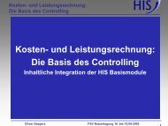 Die Basis des Controlling - Hochschul-Informations-System GmbH