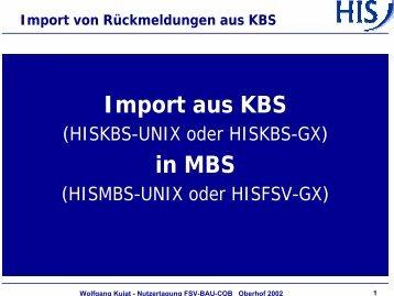 Import von Rückmeldungen aus KBS