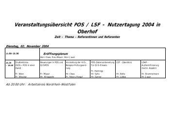 Veranstaltungsübersicht POS / LSF - Nutzertagung 2004 in Oberhof