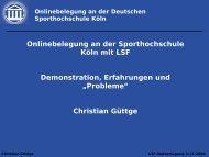 Onlinebelegung an der Sporthochschule Köln mit LSF ...