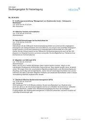 Veranstaltungen der Tagung mit Kurzkommentaren - Hochschul ...