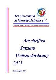 HEFT 2013 - Tennisverband Schleswig-Holstein