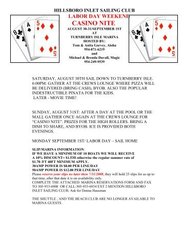 hillsboro inlet sailing club labor day weekend casino nite