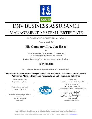 ISO 9001:2008 certified - Hisco