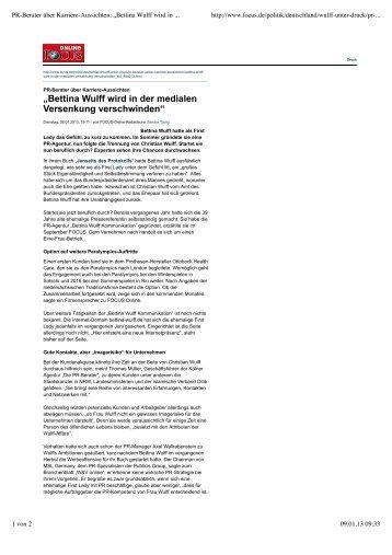 Bettina Wulff wird in der medialen Versenkung verschwinden