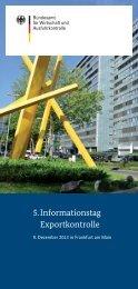 Flyer zum 5. Informationstag Exportkontrolle am 9. Dezember - Bafa