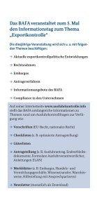 Flyer zum 5. Informationstag Exportkontrolle am 9. Dezember - Bafa - Seite 2