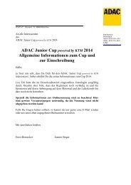 Infopaket ADAC Junior Cup 2014 - ADAC Motorsport