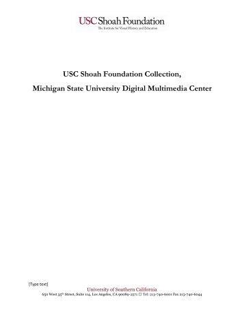 USC Shoah Foundation Collection, Michigan State University Digital ...