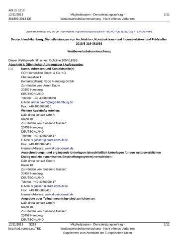 Deutschland-Hamburg: Dienstleistungen von ... - D&K drost consult