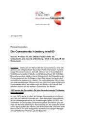 Presseinformation, 28. August 2013 - Consumenta