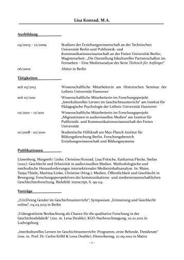 Kurzvita von Lisa Konrad als pdf - Historisches Seminar - Leibniz ...