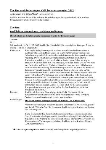 Zusätze und Änderungen KVV Sommersemester 2012 Zusätze: