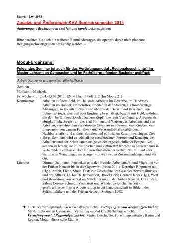 Aktuelle Änderungen und Ergänzungen, Stand 16 - Historisches ...