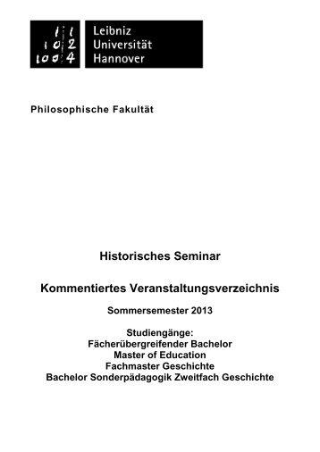 KVV des Historischen Seminars Sommersemester 2013
