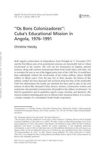 ''Os Bons Colonizadores'': Cuba's Educational Mission in Angola ...