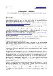 Publikationen Dr. Tanja Bührer - Historisches Institut - Universität Bern