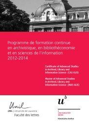 Programme de formation continue en archivistique, en ...