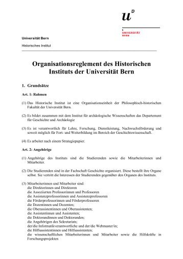 Organisationsreglement des Historischen Instituts - Historisches ...