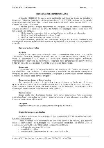 Normas Editoriais - histedbr - Unicamp