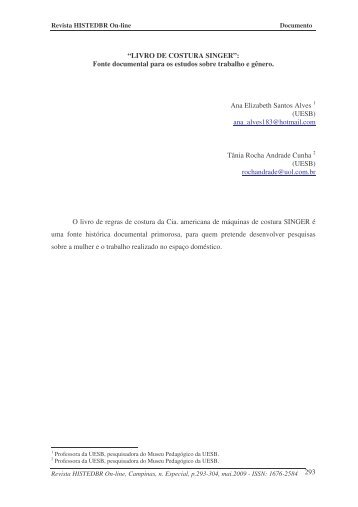 LIVRO DE COSTURA SINGER - histedbr - Unicamp