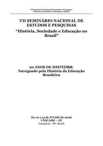 VII SEMINÁRIO NACIONAL DE ESTUDOS E PESQUISAS - histedbr ...