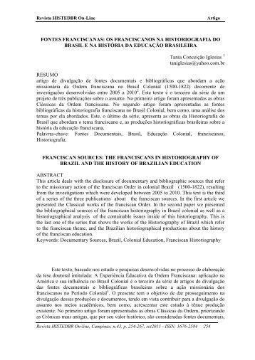 fontes franciscanas - histedbr - Unicamp