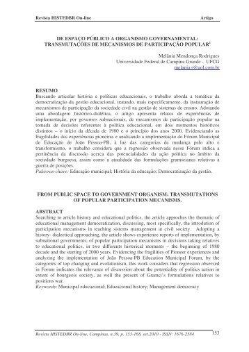 de espaço público a organismo governamental - histedbr - Unicamp