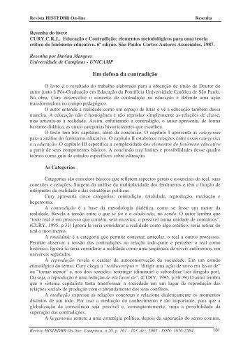 Em defesa da contradição - histedbr - Unicamp