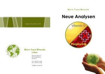 Neue Analysen: Vitamin D & Porphyrine - MicroTrace Minerals
