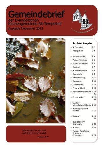 Gemeindebrief - Evangelische Kirchengemeinde Alt-Tempelhof