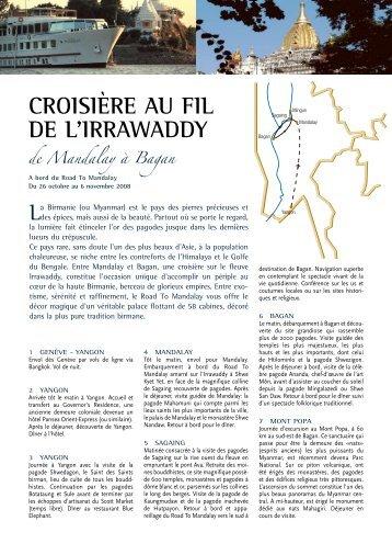 croIsIère au fIl de l'Irrawaddy - Histoire & Voyages