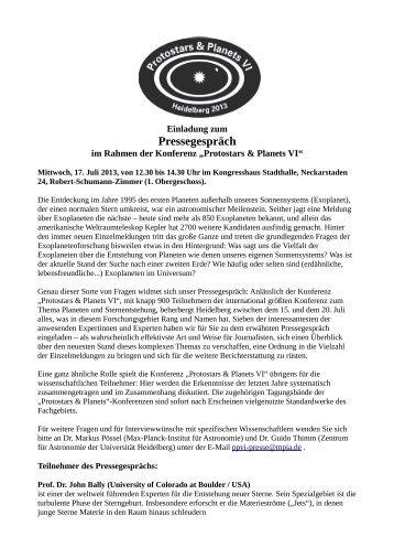 Pressegespräch - Max-Planck-Institut für Astronomie