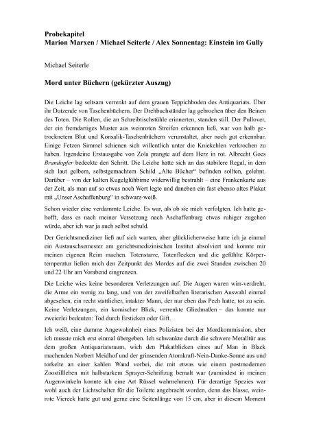 Probekapitel Marion Marxen / Michael Seiterle / Alex Sonnentag ...