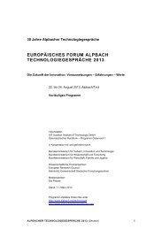Vorläufiges Programm Alpbacher Technologiegespräche 2013 als