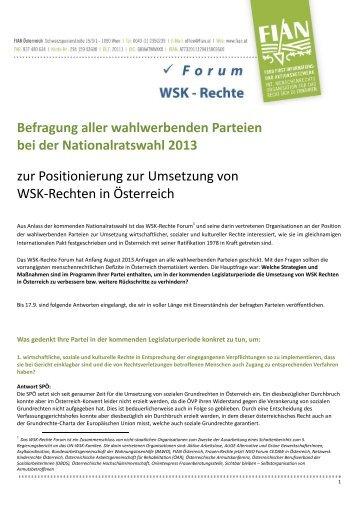 Befragung aller wahlwerbenden Parteien bei der ... - FIAN Österreich