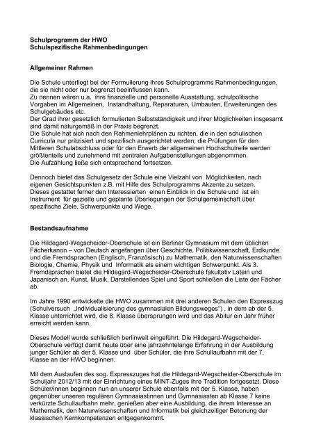 Schulspezifische Rahmenbedingungen - Hildegard-Wegscheider ...