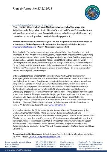 Presseinformation 12.11.2013 - Gregor Louisoder Umweltstiftung