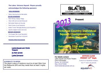 Victorian Country Individual Squash Championships in Lakes ...