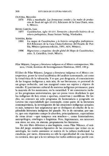 306 ción de Tecali del siglo XII-XVI, Ediciones de la Casa Chata ...
