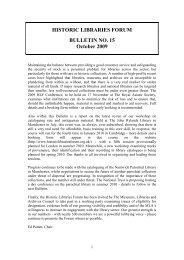 HISTORIC LIBRARIES FORUM BULLETIN NO. 15 October 2009