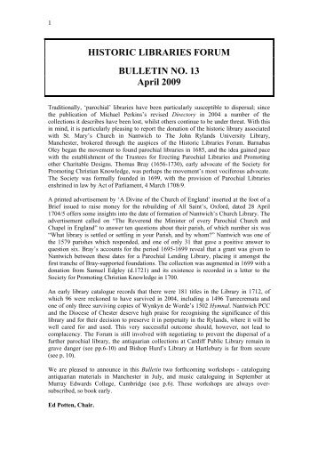 HISTORIC LIBRARIES FORUM BULLETIN NO. 13 April 2009