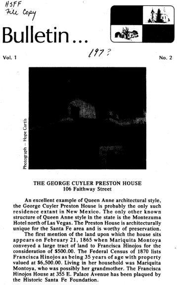 George Cuyler Preston House - Historic Santa Fe Foundation