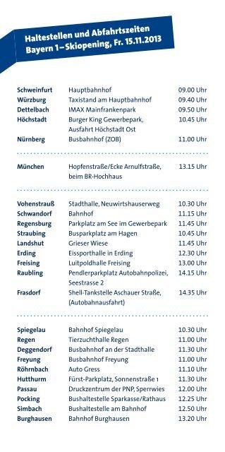 Haltestellen und Abfahrtszeiten Bayern 1 – Skiopening, Fr. 15.11.2013