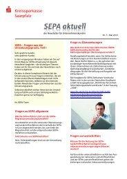 SEPA aktuell Nr. 7 – Mai 2013 - Kreissparkasse Saarpfalz