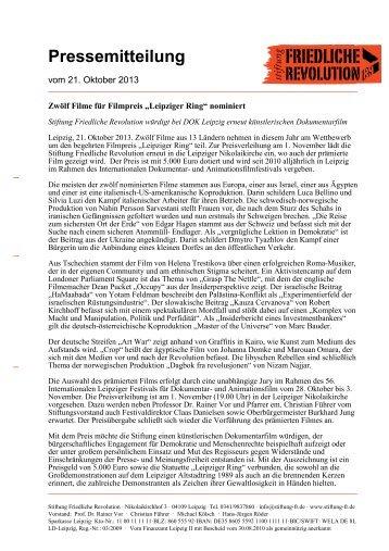 Pressemitteilung - Stiftung Friedliche Revolution